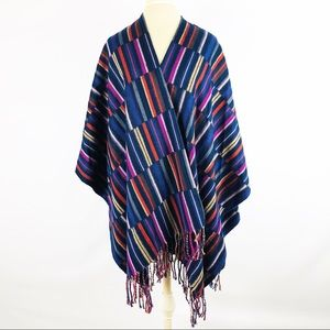 Striped Poncho Shawl with Fringe Tassel